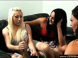 Femdoms dominating by tugging and teasing