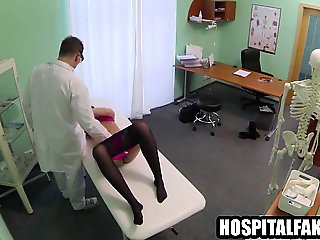 Brunette patient gets her pussy licked by her doctor