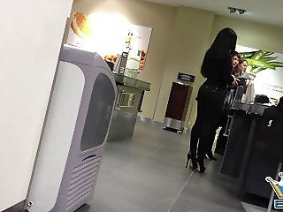 Sexy Chick in Black Pants and High Heels