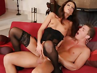 Sophie Lynx Black Stockings Sex On Sofa