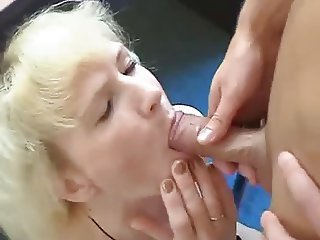 Blond Russian Granny meets NOT her Son