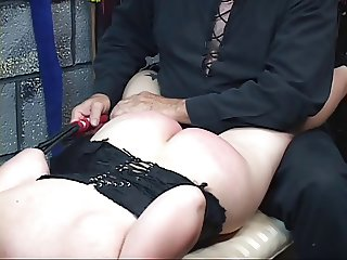 Short haired slave gets bound and sat on floor