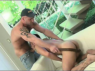 2 Hot Studs Having Fun Blowing Their Huge Cocks On The Sofa