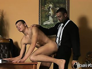 Muscular man in a suit fucks younger slut in his tight ass!