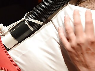 Second Vacuum Orgasm in Red Panties and White Satin Teddy