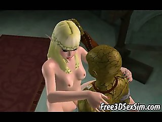 Sexy 3D blonde sucks cock and gets fucked by a mosnter