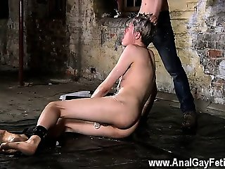 Twink sex Chained to the warehouse floor and unable to escap