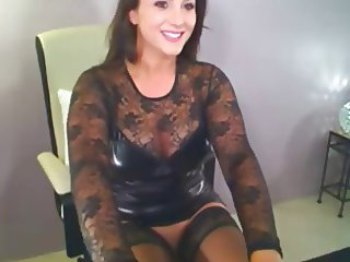 Sexy Brunette Milf In Latex Fingers Clit On Cam