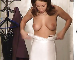 Karen White tries on clothes