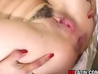 Hairy Latina In A Threesome