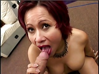 Asian gives blowjob gets cum in her eye