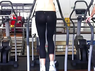 Hot aunty at gym with see through pants