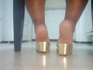 BBW Ebony Feet In Gold Sandals