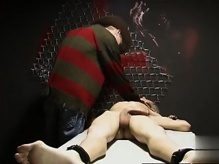 Gay XXX In a weird wish Ashton Cody is roped up and undresse