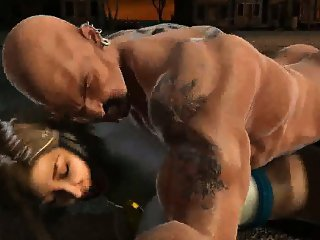 3D Powergirl gets licked and fucked outdoors