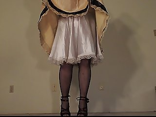 Sissy Ray in Gold Satin Sissy Dress Upskirt