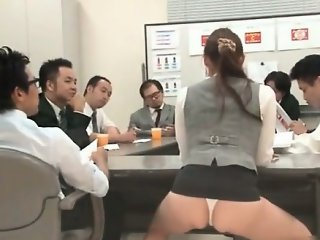 Nasty Asian babe is cleaning the office part5