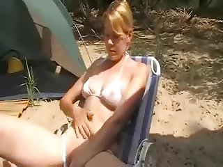 At the campsite she masturbates in front of her husband