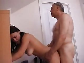 School Teen Girl Sucks & Fucks OLD Grandpa