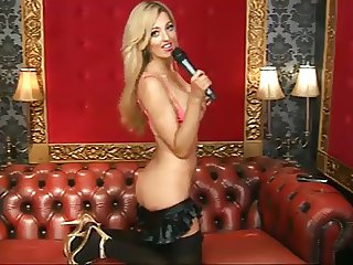 Delia Rose on BS in Black Stockings and Gold Heels