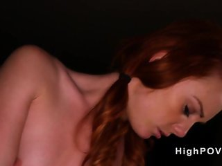Hairy pussy redhead babe banging pov