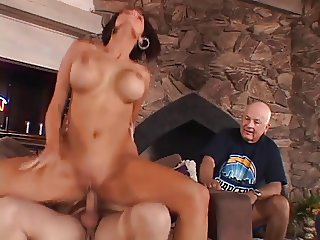 Stunning married brunette gets her amazing tits licked and pussy fucked