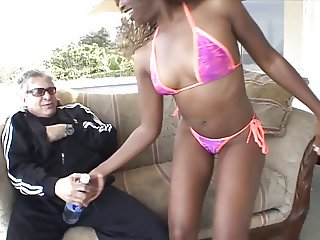Dark skinned honey teases and strips