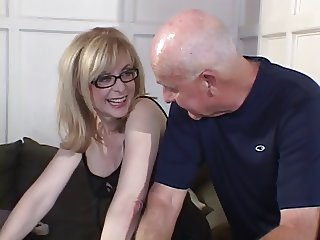 Hot chica with great tits and a tight body is fucked doggystyle on a couch