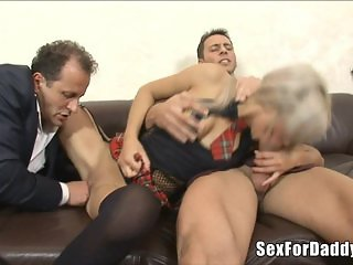 Daughter Getting Double Penetrated By Old Men