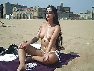 Elena Shows Off Her Pussy At NON-Nude Public Beach!