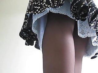 Lacy slip under skirt