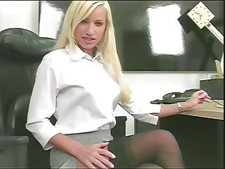 Hot horny blonde bent over on the floor while showing pussy