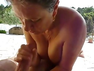 Granny Handjob #8 Outdoors with a nice View