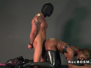 Ebony mistress interracial pounded in dungeon
