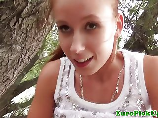Pulled redhead euro babe spoils guys in park