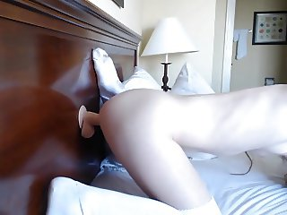Sexy Chick Rides Her Mounted Dildo