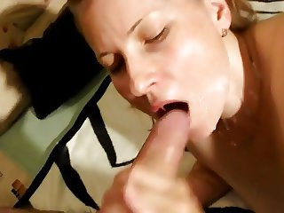 Pretty blonde MILF gets the cum on her face