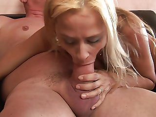 Horny blonde MILF gets her hole stretched by huge dick