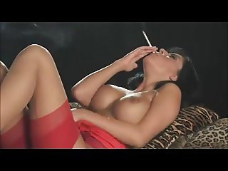 Smoking brunette in red dress + 120