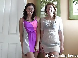 Shoot two hot loads of cum and lick them both up CEI