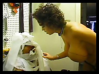 Slave dude trapped with his mistress in a restroom