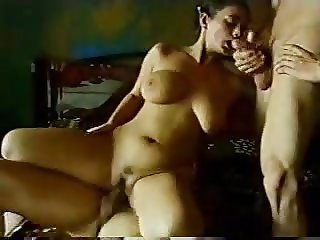 Hairy girl takes on two cocks