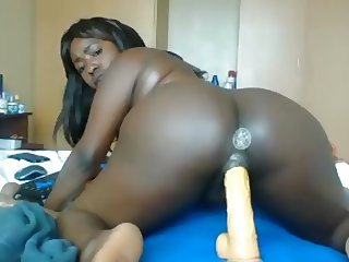 Horny black girl rides your dick on POV webcam (no sound)