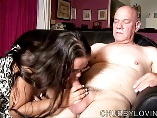 Beautiful busty BBW gives an amazing sloppy blowjob