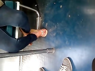 Candid Mexican Feet Painted Toes Flip Flops