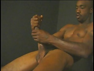 Horny guy massages his cock