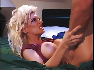 Big tits blonde banged hard on the bed