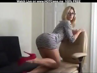 Busty Blonde MILF With Glasses Striptease On Live Webcam