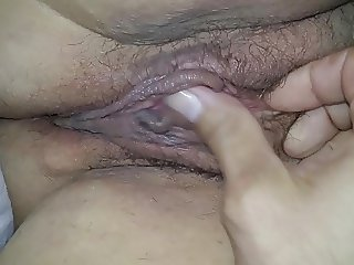 Sexy wife's big clit hairy sloppy wet pussy long video