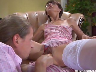 Skinny mature in white lingerie fucks with his foreman
